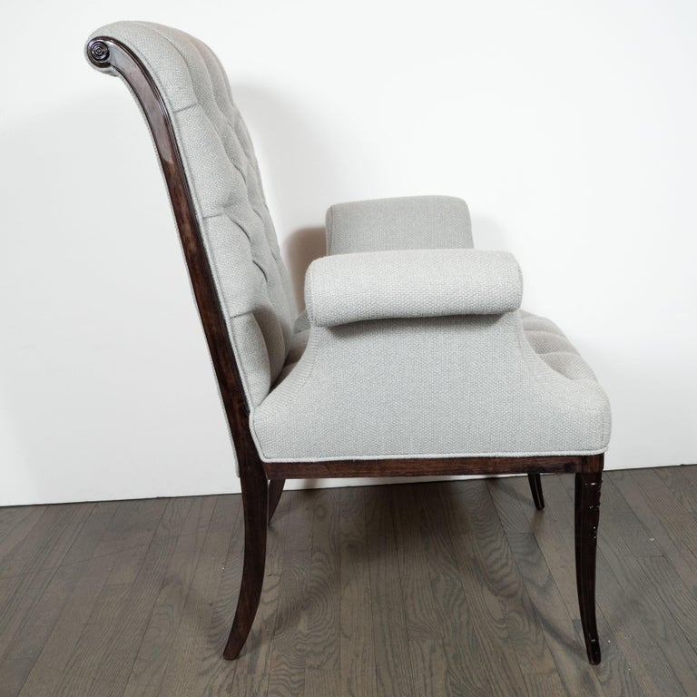 Mid-20th Century Pair of Hollywood Tufted Button Back Scroll Form Side Chairs by Grosfeld House For Sale