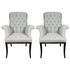 Pair of Hollywood Tufted Button Back Scroll Form Side Chairs by Grosfeld House