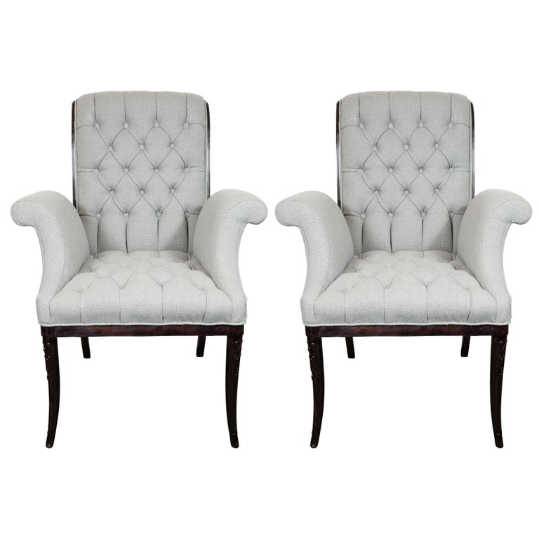 Pair of Hollywood Tufted Button Back Scroll Form Side Chairs by Grosfeld House For Sale