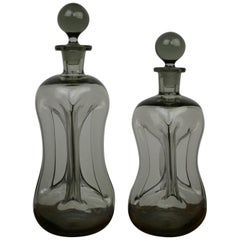 Pair of Holmegaard Smoked Decanter Bottles, Jacob Bang, Denmark, 1960s