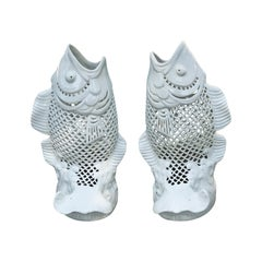 Pair of Hong Kong White Porcelain Reticulated Fish, circa 1970s-1980s, Marked