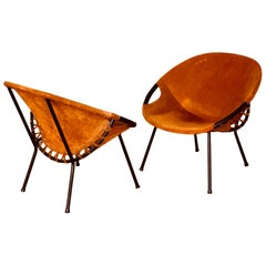 Pair of Hoop Chairs in Suede and Metal Frame Atomic Age