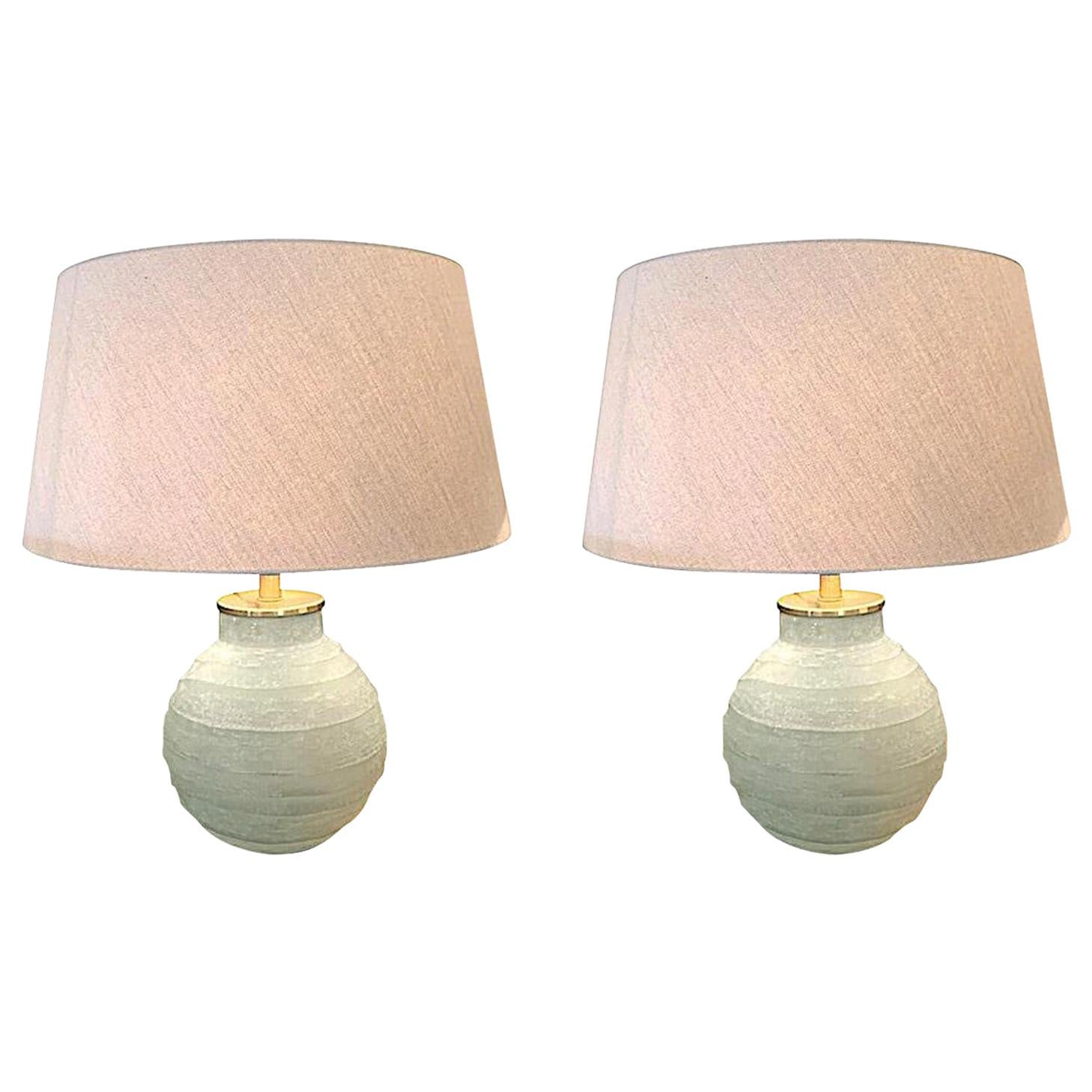 Frosted Blue Glass Horizontal Rib Pair of Lamps, Romania, Contemporary