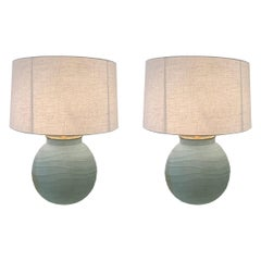 Pair of Horizontal Rib Frosted Blue Glass Lamps, Romania, Contemporary