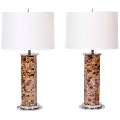 Pair of Horn Veneer Table Lamps