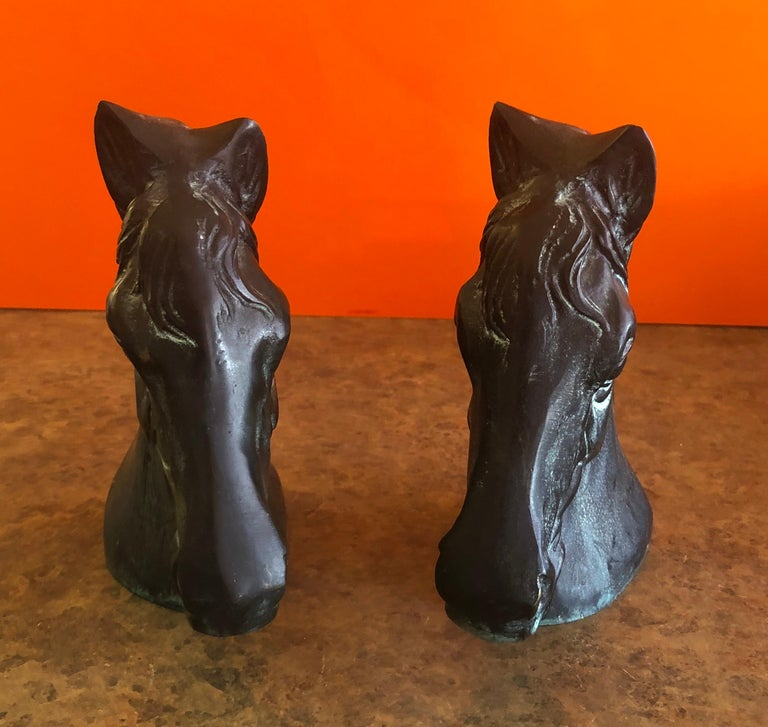 20th Century Pair of Horse Head Bookends in Bronze For Sale