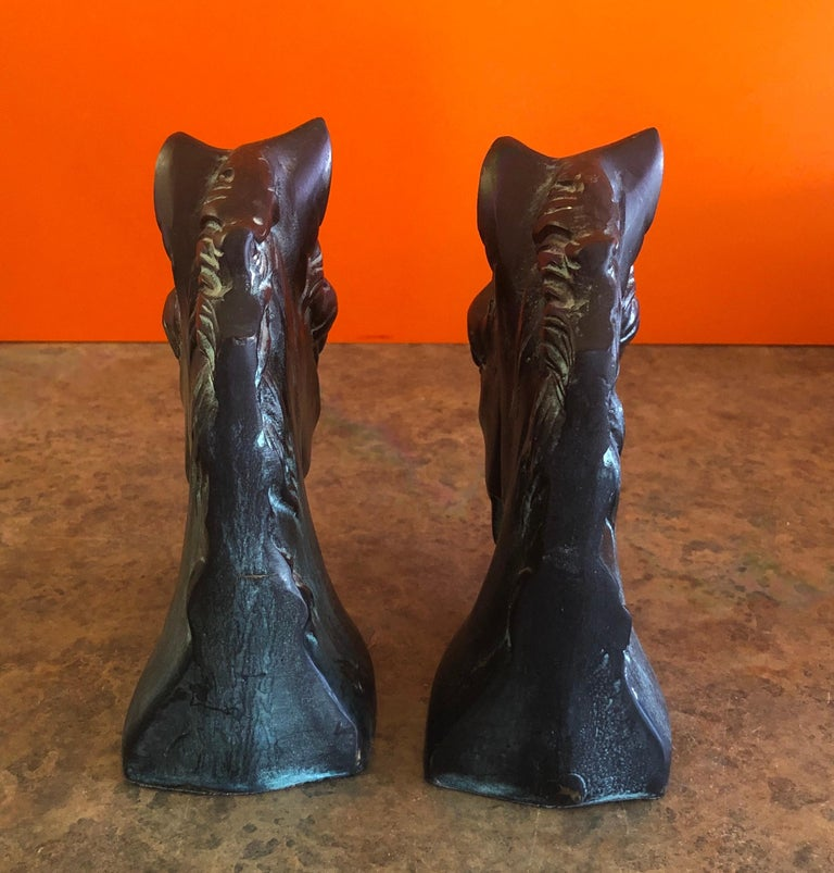 Pair of Horse Head Bookends in Bronze For Sale 1