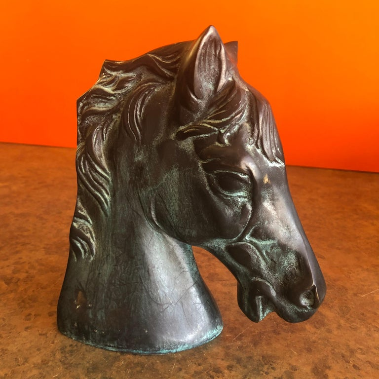 Pair of Horse Head Bookends in Bronze For Sale 2