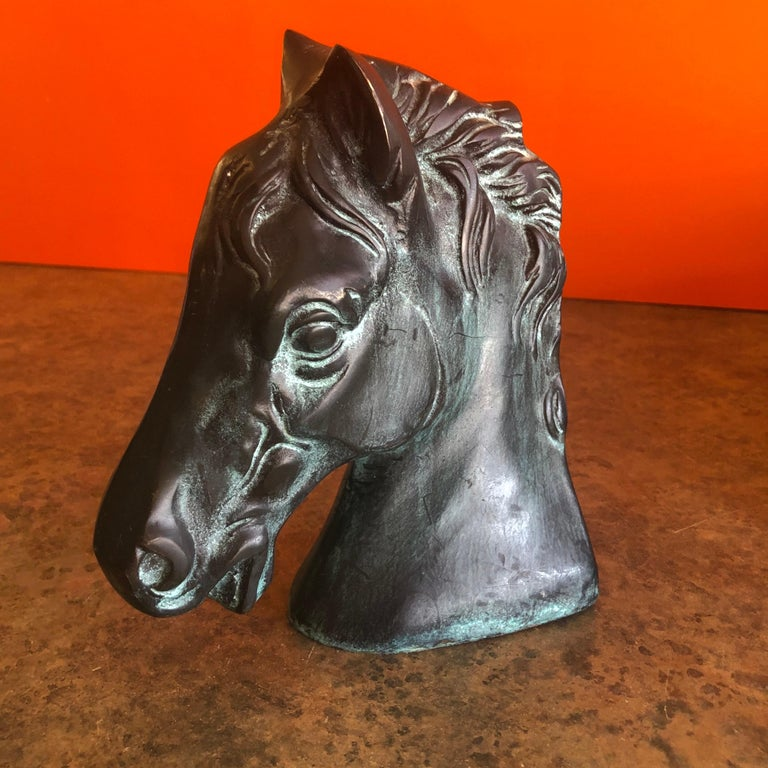 Pair of Horse Head Bookends in Bronze For Sale 3