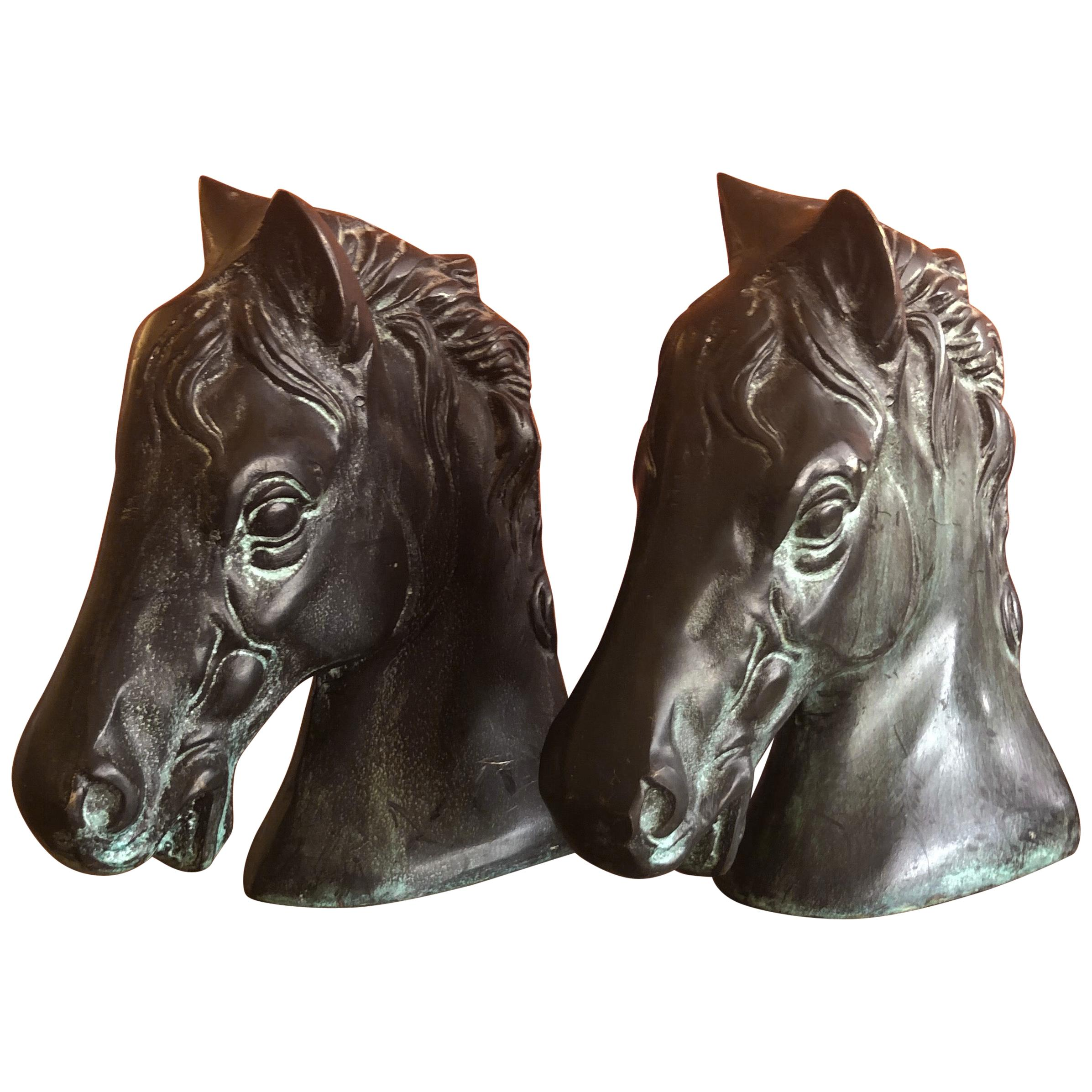 Pair of Horse Head Bookends in Bronze