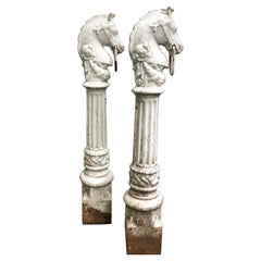 Pair of Horse Head Hitching Posts