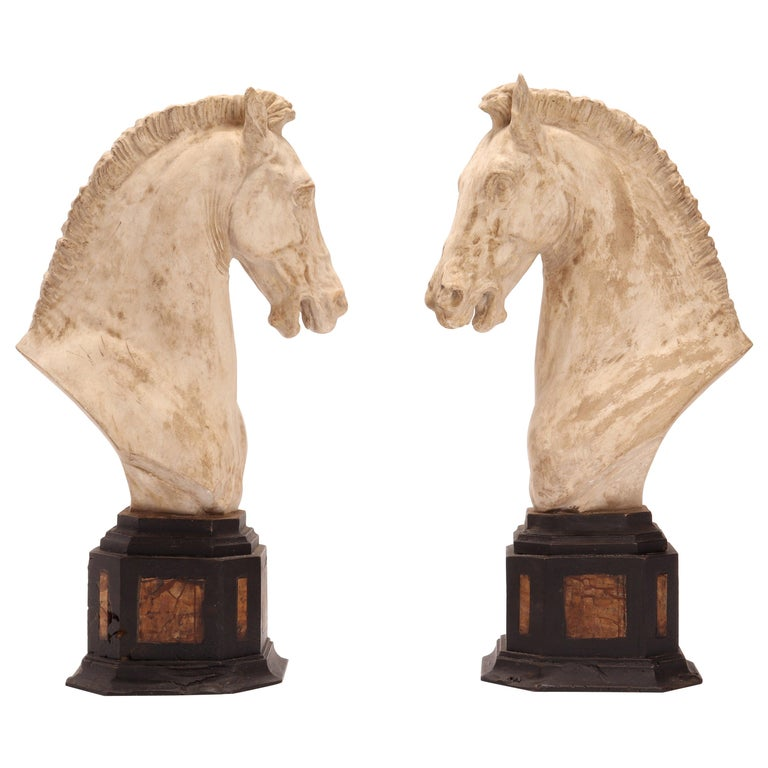 Pair of Horse Heads, Italy, 1870 For Sale