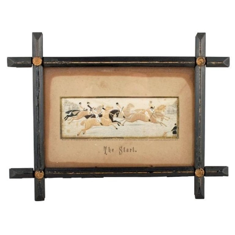 A pair of Victorian woven silk Stevengraphs of horse racing.  The Stevengraphs are titled