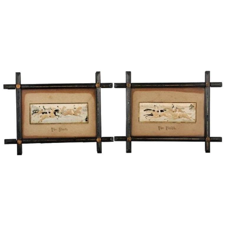 Pair of Horse Racing Stevengraphs, 19th Century For Sale