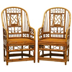 Pair of Horseshoe Back Brighton Pavilion Style Chinoiserie Bamboo Armchairs