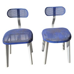 Pair of Horton Texteel Ironer Industrial Steel Mesh and Wood Chairs, circa 1940s