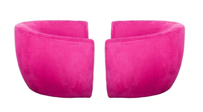 American Pair of Hot Pink Vladimir Kagan Sculptural Hurricane Lounge/Club Chairs For Sale