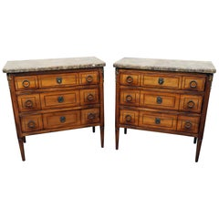 Pair of Hotel Continental Marble-Top Commodes