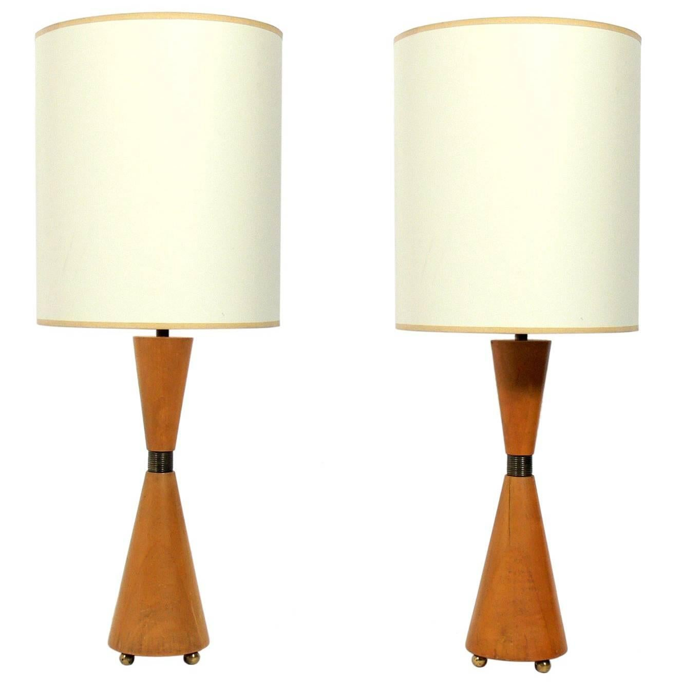 Pair of Hourglass Form Wood and Brass Lamps