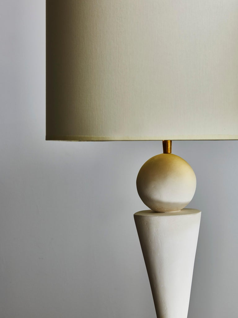 French Pair of Hourglass Plaster Table Lamps For Sale