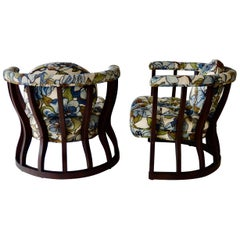 Pair of Hourglass Shaped Wood Framed Moorish Style Lounge Chairs