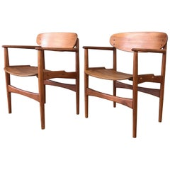 Pair of Hovmand-Olsen for Jutex Teak and Rosewood Armchairs, 1950s
