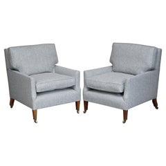 Pair of Howard & Son's Fully Stamped, Restored Herringbone Upholstered Armchairs