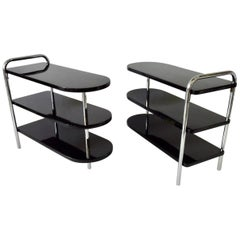 Pair of Howell Black Lacquered and Chrome Art Deco Machine Age Side Tables