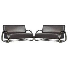 Pair of Hudson Ralph Lauren Inspired Leather Loveseat Sofas