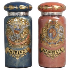 Pair of Huge Antique Apothecary Display Bottles