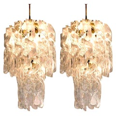 """Pair of Huge Brass White Spiral Murano Glass """"Torciglione"""" Chandeliers, 1960"""