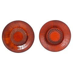 Pair of Huge Danish Ceramic Wall Lamps in Red, Denmark, 1960s
