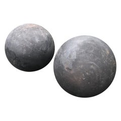 Pair of Huge English Hand Carved Sandstone Spheres Painted Matte Black