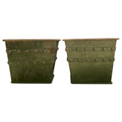Pair of Huge French Iron Box Planters with Studded Decoration