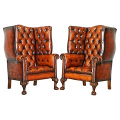 Pair of Huge Georgian Chesterfield Brown Leather Wingback Armchairs Claw & Ball