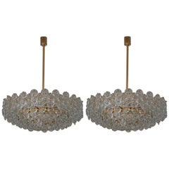 Pair of Huge Gold-Plated and Cut Glass Chandeliers by Palwa, circa 1960s