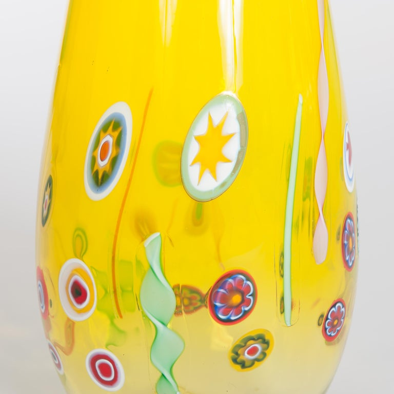 Pair of Huge Green and Yellow Murano Glass Murrinen Vases by Stefano Toso 1970s 3