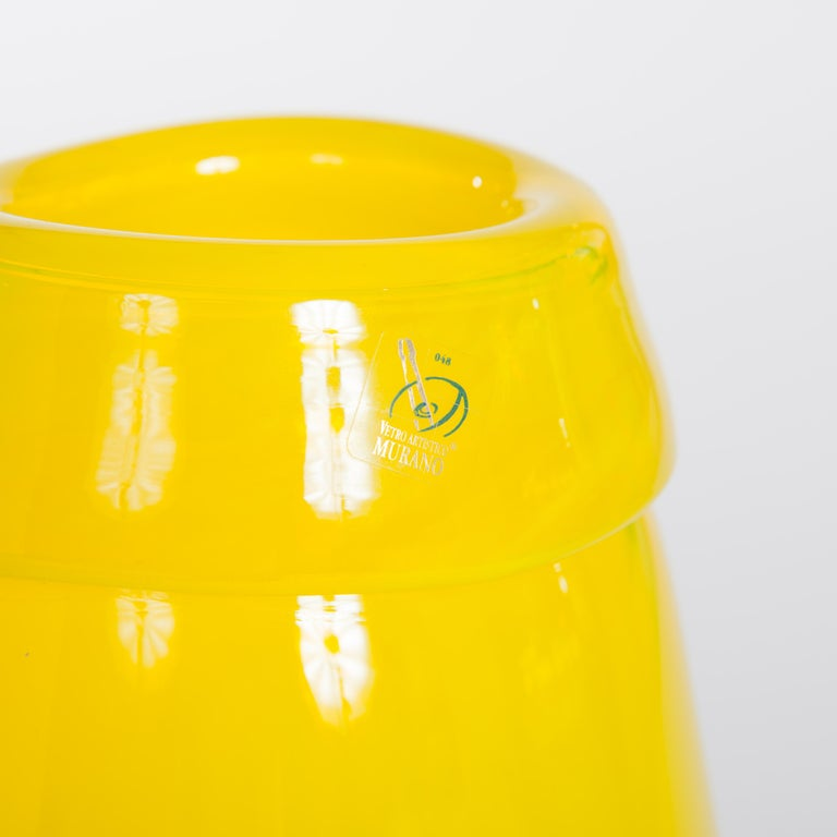 Pair of Huge Green and Yellow Murano Glass Murrinen Vases by Stefano Toso 1970s 6