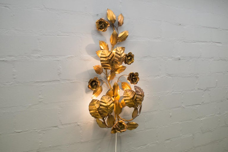 Metal Pair of Huge Hollywood Regency Double Wall Lights by Hans Kögl, Germany, 1970s For Sale