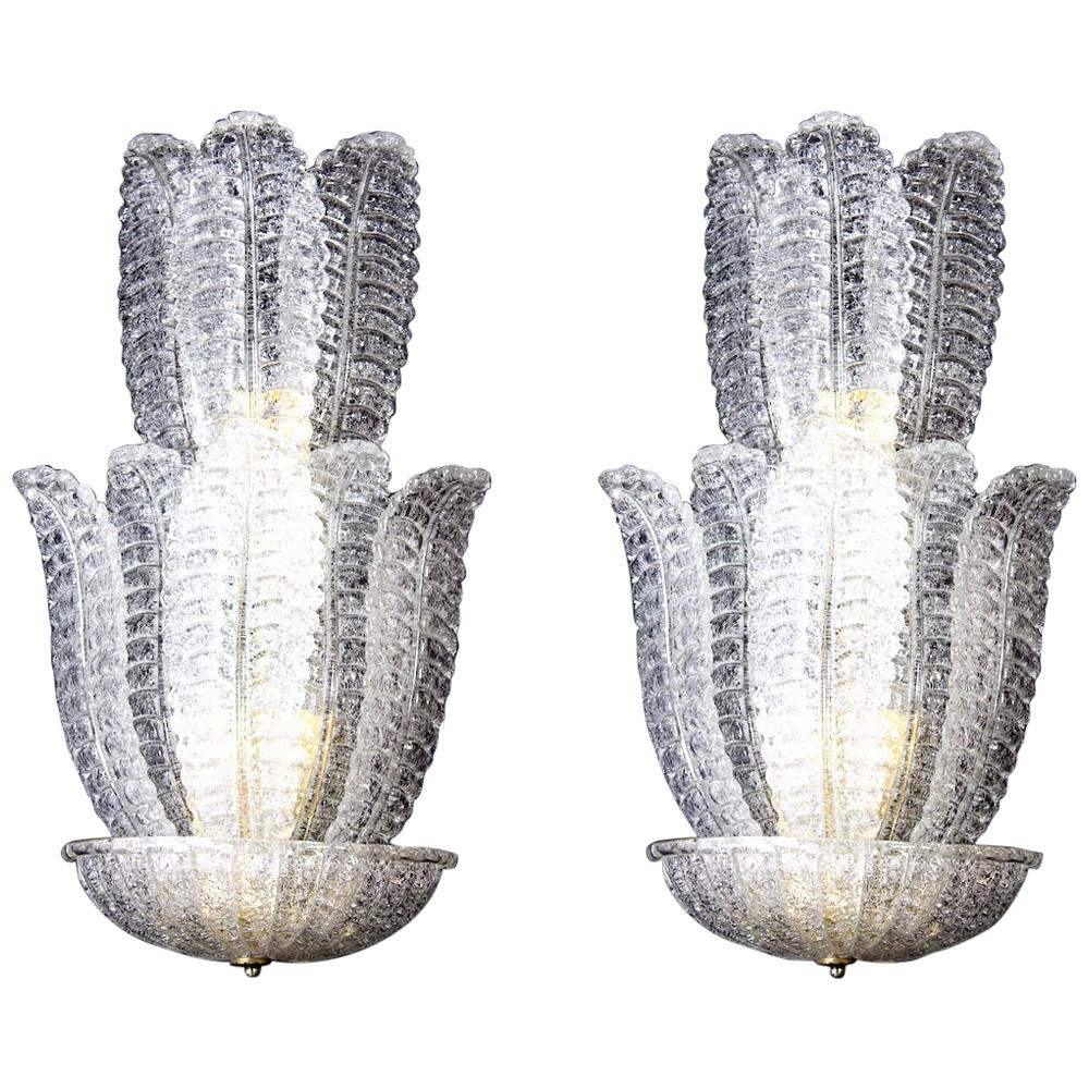 Pair of Huge Italian Murano Glass Wall Sconces by Barovier & Toso, 1970