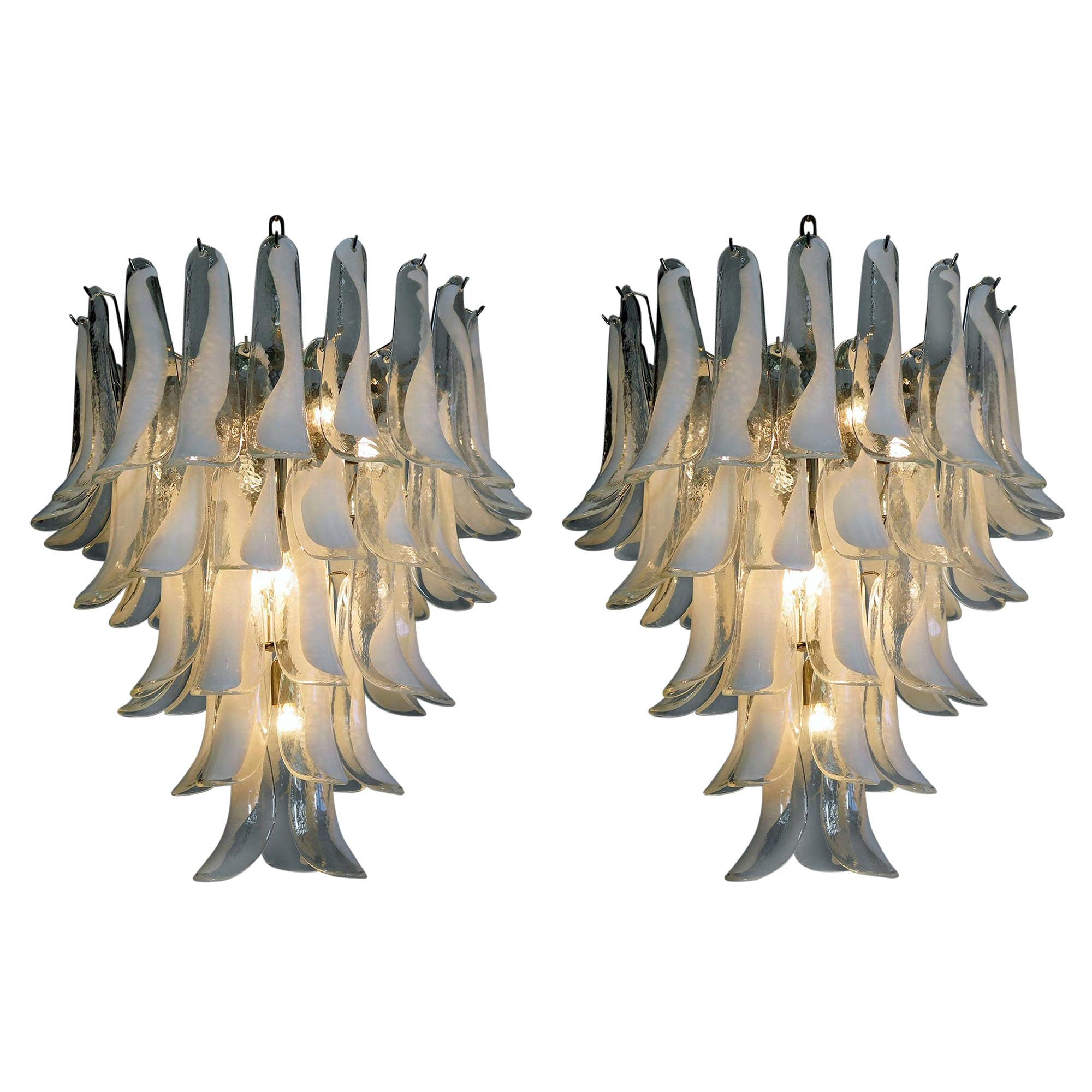Pair of Huge Italian Vintage Murano Chandelier Made by 52 Glass Petals, 1970s