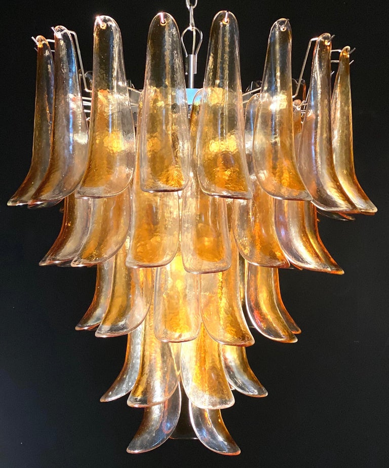 Pair of huge Italian vintage Murano chandelier made by 52 clear amber glass petals supported by a chrome frame.