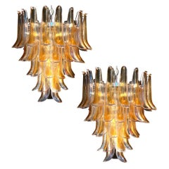 Pair of Huge Italian Vintage Murano Chandelier with Amber Glass Petals, 1970s