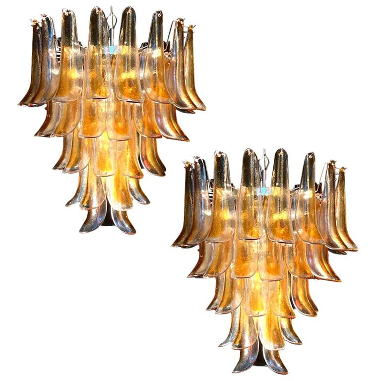 Pair of Huge Italian Vintage Murano Chandelier with Amber Glass Petals, 1970s For Sale