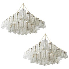 Pair of Huge Kalmar 'Granada' Chandeliers Flush Mount Lights, Brass Glass, 1970