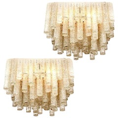 Pair of Huge Modern Blown Flush Mount / Light Fixtures from Doria, 1960s