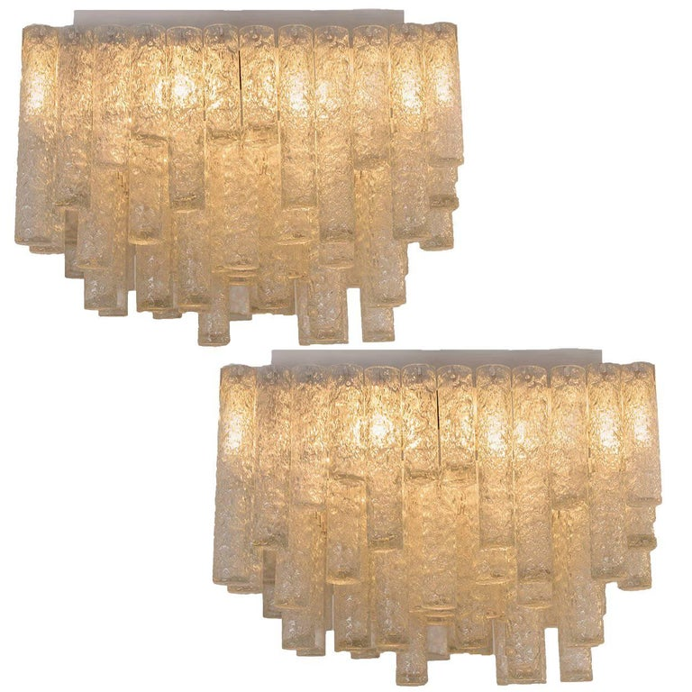 Pair of Huge Modern Handblown Flush Mounts or Light Fixtures from Doria, 1960s