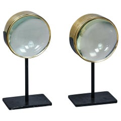 Pair of Huge Mounted Magnifying Lenses