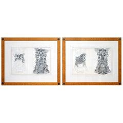 Pair of Huge Original Circa 1660 Pierre Mignard '1612-1695' Copper Plate Prints