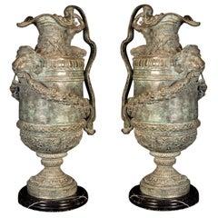 Pair of Huge Renaissance Revival Bronze Ewers or Vases